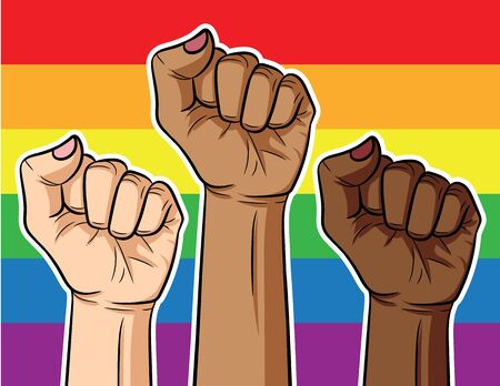 Color vector illustration fist of different color of skin on rainbow background. Poster about the struggle of the LGBT community of different races on the background of the rainbow flag. Stock Illustratie