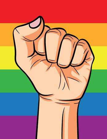 Color vector illustration of the rainbow. Poster of sexual minorities. Sign of lgbt community over rainbow flag