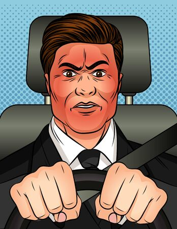 Color vector illustration in pop art comic style. A man holds the steering wheel in his hands and rides in a car. Businessman hides his emotions. Man with a red face with rage. Stock Illustratie