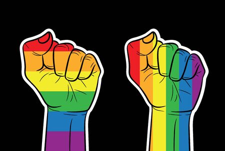 Color vector horizontal banner fist in rainbow colors. LGBT community sign isolated from black background
