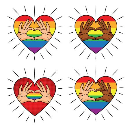 Vector color illustration of a heart-shaped hand on a rainbow background. Color print Sign of love from the fingers of different skin colors. A set of logos for the LGBT community Иллюстрация