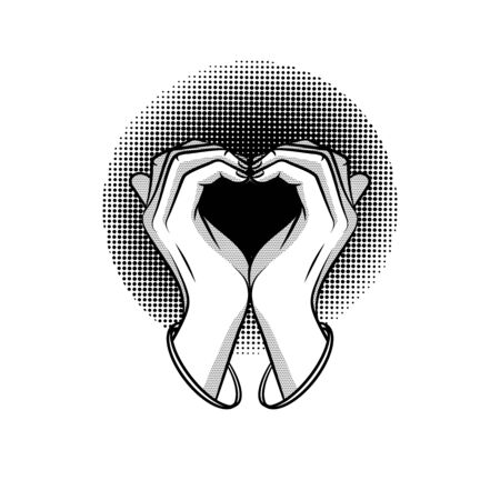 Black and white vector illustration of a love sign with hands. Graphic design for logotype, sticker isolated from background. Symbol of love on a white background