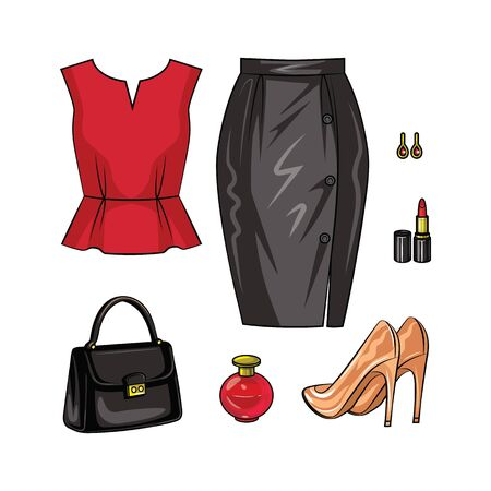 Color vector realistic illustration of female objects in the evening look. A set of elegant manner of womens clothing and accessories isolated from white background. Garments, shoes and accessories