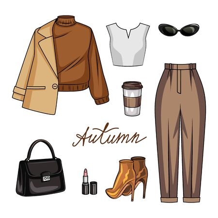 Color vector illustration of women's wardrobe items for autumn. Fashionable casual clothes for a young woman. Women stylish warm clothes, shoes and accessories isolated on white background Иллюстрация