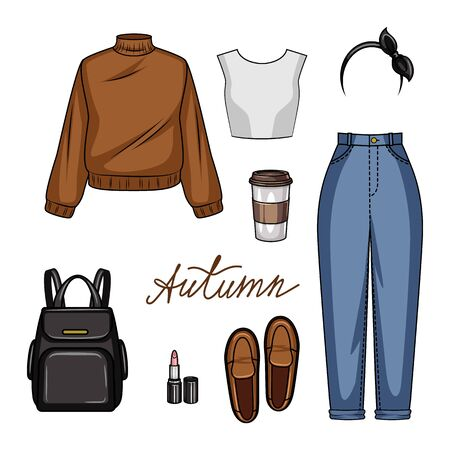 Color vector realistic illustration of womens clothing for school. Set of youth style of womens clothing and accessories isolated from white background. Clothing, shoes and accessories for the fall