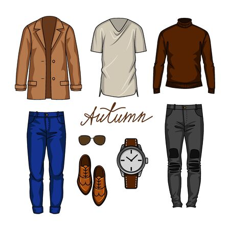 Color vector illustration of an urban outfits for a male wardrobe. Male modern wardrobe for the autumn season.  Иллюстрация