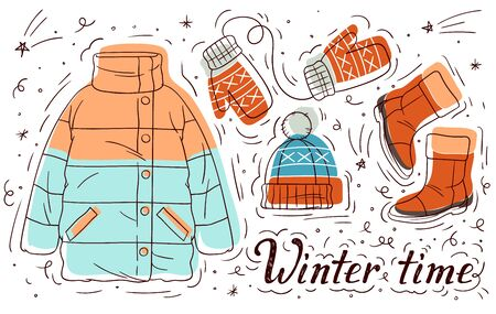 Color vector hand drawn illustration of winter clothes for girls. Set of doodle style elements. Women's casual warm clothes. Poster with the inscription winer time and elements winter female wardrobe