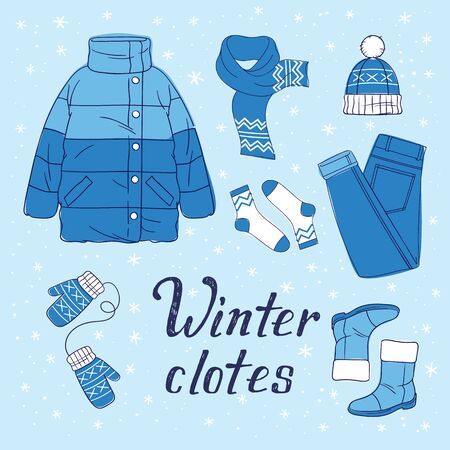 Vector illustration of winter wardrobe and hand drawn phrase for print, sticker, decor. Flat style Illustrations of warm clothes Иллюстрация