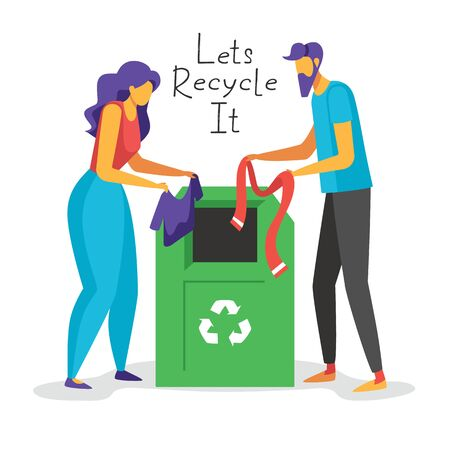Color vector flat style illustration of Recycling old clothes. Man and woman throwing old clothes away  into a Green trash can with a recycling symbol. Concept for landing page, template, ui, web.