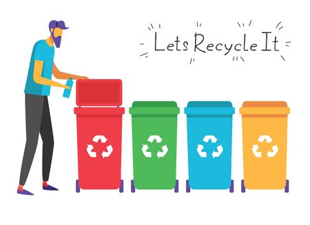 Color vector flat style illustration about waste recycling. A man separates waste into a trash can of a certain color. Landing page concept, template, user interface, web. Иллюстрация