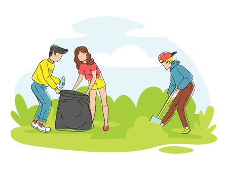 Color vector illustration of a style about environmental protection. Volunteer teenagers collect garbage together in the park. Landing page concept, template, user interface, eco website.