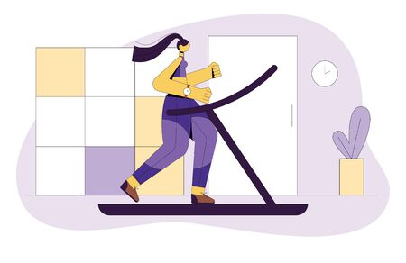 Colored vector flat style illustration of a girl running on a treadmill. The girl goes in for sports. Girl in the gym doing cardio workout. Concept design for web site, flyer, banner.