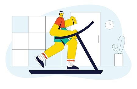 Modern vector illustration of a man running on a treadmill. The guy in a gym doing cardio workout. Flat style concept design for website, flyer, banner. Young man jogging indoor Illustration