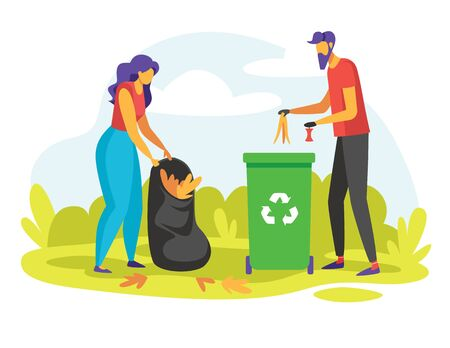 Color vector illustration of people collecting rubbish outdoors. Flat style concept for flyer, web page banner. A man and a woman separate trash into  containers.