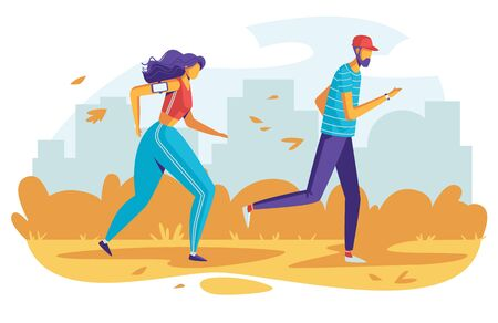 Color vector illustration people running in the park. Flat style poster sport activities outdoors. Autumnal nature with tall buildings in the background. The couple are preparing for the marathon Иллюстрация