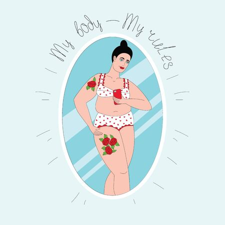 Color vector illustration of a plus size girl takes a selfie. Hand-drawn poster with the inscription on top. Girl posing in underwear. Reflection in the mirror of a curvy woman with tattoo.