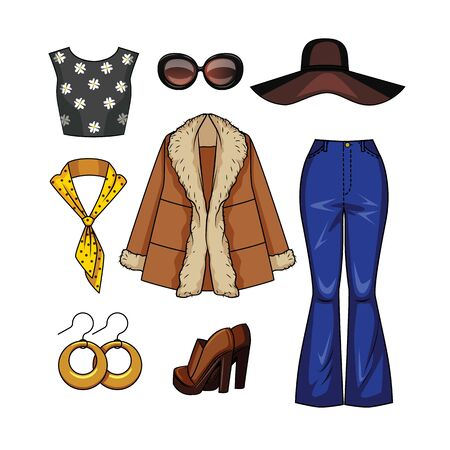 Color vector realistic illustration of women's fashion clothes in the style of the 70s. Set of vintage clothes and accessories for a girl isolated from white background. Clothing for autumn