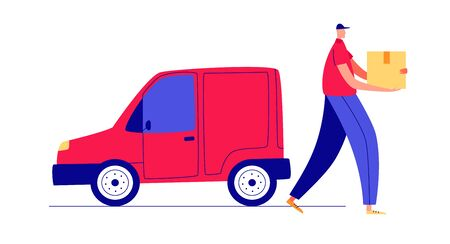 Colored vector flat style illustration. A man with a parcel in his hands. Delivery man near the car.