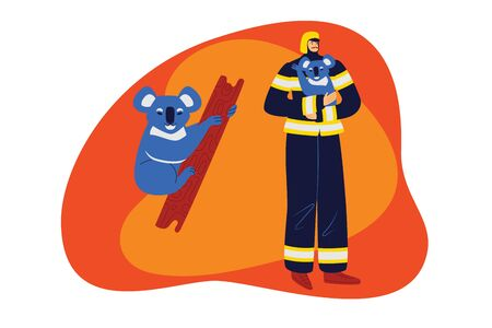 Color vector illustration flat style. A firefighter in uniform and helmet helps a koala. Web banner, web page, landing page concept. Helping animals in case of fire Иллюстрация