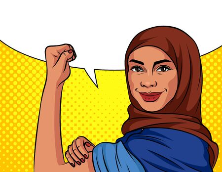 Colored vector illustration in pop art style. An Arabic woman in a headscarf is fighting for her rights. Poster on the topic of female labor, power and feminism. Muslim woman on dotted background
