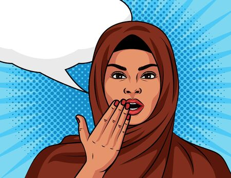 Color vector in arabic style pop art comic girl surprised. Beautiful woman in a traditional Islamic shawl on her head in shock. Muslim woman with an amazed expression face over halftone background