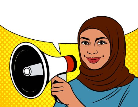 Colored vector illustration in pop art style. An Arabic woman in a headscarf with loudspeaker. Muslim woman on dotted background with megaphone. Advertising poster with woman and speech bubble