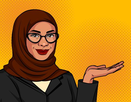 Vector color illustration in pop art style. Muslim woman in a traditional scarf and glasses shows something. Arabic successful business woman over dot background. Advertising banner Иллюстрация