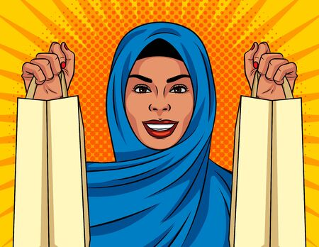 Color vector in pop art comic style girl with shopping bags. A Muslim woman in a traditional Islamic shawl on her head is shopping. Woman happy with her purchases