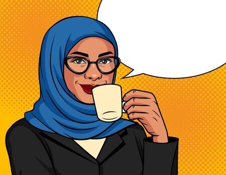 Vector color illustration in pop art style. Muslim woman in a traditional scarf and glasses is drinking coffee. Arabic successful business woman over dot background with cup of coffee in her hand