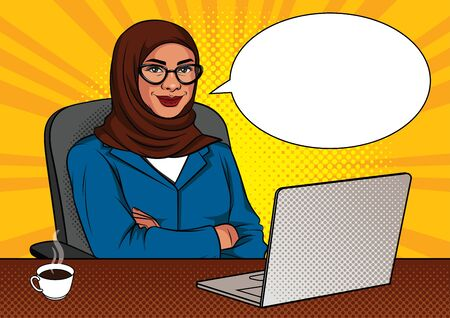 Vector color illustration of successful muslim business woman in office room. Happy beautiful lady with arms crossed sitting in a chair in front of a laptop.