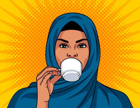 Color vector illustration in pop art style. Beautiful muslim woman in a traditional shawl on her head is drinking a coffee. Arabian woman hold cup of coffee in her hand Иллюстрация