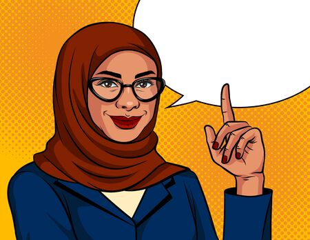 Vector color illustration in pop art style. Muslim woman in a traditional scarf and glasses is pointing finger up. Advertising banner with Arabic successful business woman over dot background