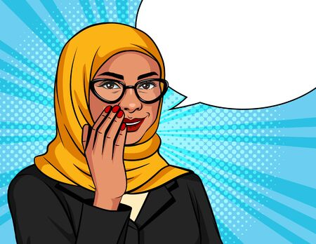 Vector color illustration in pop art style. Muslim woman in a traditional scarf and glasses is whispering. Arabic successful business woman over dot background is telling a secret information