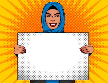 Colored vector illustration in pop art style. Beautiful muslim woman in traditional shawl on her head. Arabian woman holds a white sheet in her hands. Advertising poster,  template, advertisement.