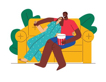 Colored flat style illustration. Loving couple watching TV at home. Husband and wife spend time together. A guy and a girl of different nationalities. Couple at home on self isolation
