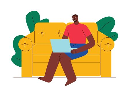 Colored illustration flat style. A man works from home. African American man on self-isolation. Work in quarantine. Worker sits at home on a sofa with a laptop