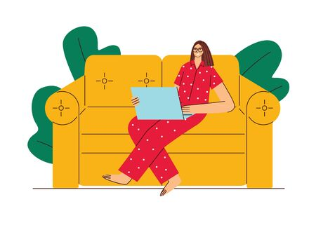 Colored vector illustration flat style. A woman works from home on self-isolation. Girl in pajamas is sitting on a sofa with a laptop. Girl works during quarantine