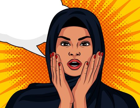 Color vector in pop art comic style. The Arabian girl is surprised. A beautiful woman in a traditional Islamic shawl on her head in shock. Muslim woman with open mouth holding hands to face Иллюстрация