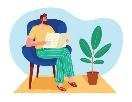 Color vector isolated illustration in a flat style. A man reads a newspaper at home. A man sits in an armchair and reads the news. Man in the interior