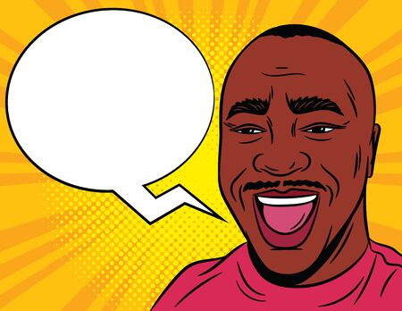 Color vector illustration in comic pop art style. Joyful male face with a speech bubble in the background. African American man with open mouth. Close-up of a satisfied man's face