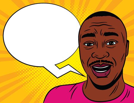 Color vector illustration in comic pop art style. Male surprised face with a speech bubble in the background. African American man in shock. Emotional male face close-up