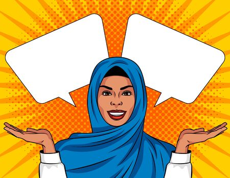 Colored vector illustration in pop art style. Beautiful muslim woman in traditional shawl on her head. A woman makes a choice. Иллюстрация