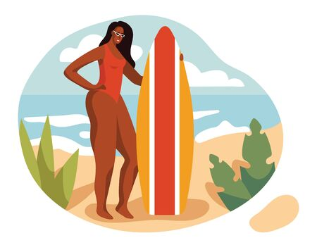 Color vector illustration in a flat style. Beautiful girl in a swimsuit on the beach. A girl with a surfboard stands on the sand. Slender tanned woman on vacation. Vacation landscape