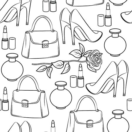 Seamless vector black and white pattern. Fashion accessories, shoes and cosmetics for women. Female things isolated on a white background