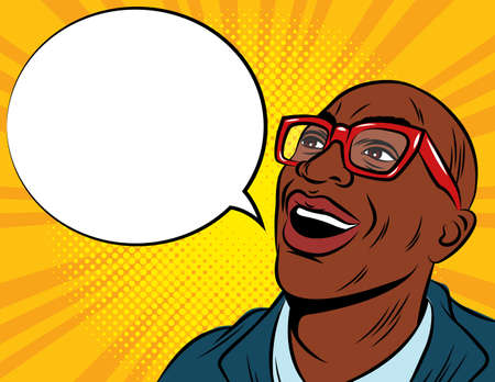 Color vector illustration in pop art style. African American man in glasses and suit. Amazed male face with speech bubble. The man is surprised. A man with an open mouth looks up.