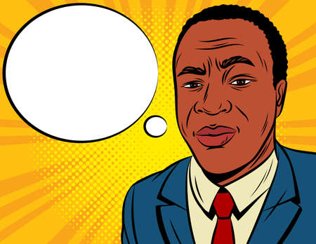 Color vector illustration in pop art style. African American man in a blue suit on a yellow background. Concerned male face with speech bubble. The man is worried. Man thinks frowning eyebrows Иллюстрация