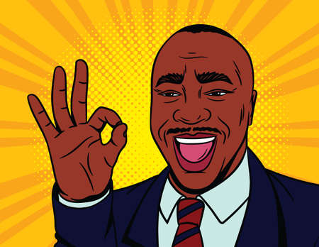 Colored vector illustration in pop art comic style. Happy male face with an approved sign. African American man shows his agreement with a gesture. Black male businessman in suit. Иллюстрация