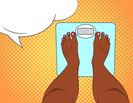 Color vector illustration in pop art style. The girl stands on the scales. Women's feet top view. An African American woman is weighing herself. Female feet close up in the bathroom