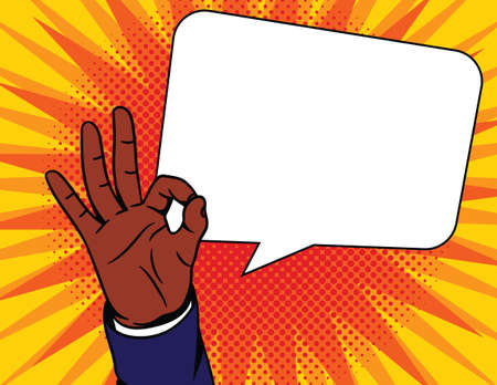 Colored vector illustration in pop art comic style. Male hand with an approved sign. African American man shows his agreement with a gesture.