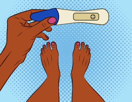 Color vector illustration pop art comic style. A girl makes a pregnancy test. African american girl with a positive pregnancy test. Female hand holds test. Design concept banner about motherhood Иллюстрация
